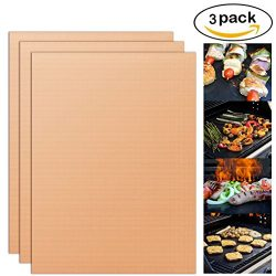 YORLFE Grill Mat – Set of 3 BBQ Grill Mats – Non-stick, Reusable, and Easy to Clean  ...