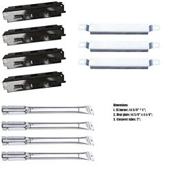 Relishfire SS Burner + SS carry-over tubes + Porcelain Steel Heat Plate, Replacement Part Kit fo ...
