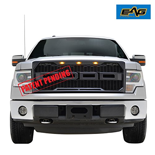 EAG Upper Replacement Grille w/LED Amber Lighting for 09-14 Ford F150 – Matte Black