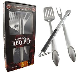 Heavy Duty BBQ Grilling Tools Set – Professional Grade 18″ Long Stainless Steel 3-Pi ...