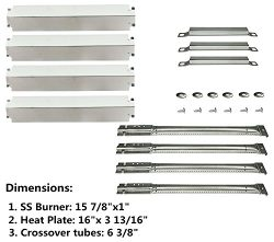 DOZYANT Parts Kit Replacement Charbroil Gas Grill Burners, Stainless Steel Heat Plates and Cross ...