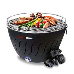 Foggo Smokeless Indoor Grill | Stainless Steel Electric Indoor/Outdoor Charcoal BBQ Grill W/Batt ...
