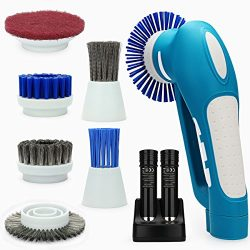 Belle Electric Spin Scrubber,Grips Electric Grill Brush with 2 Rechargeable Batteries 6 Metal &a ...