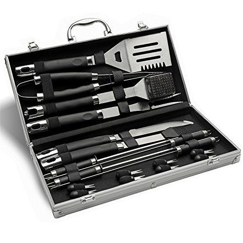 Monbix GL-80519 19 Pieces Professional BBQ Grill Set – Stainless Steel Barbecue Heavy Duty ...