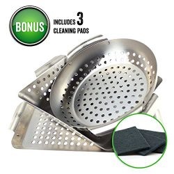 Yukon Glory 3-Piece Mini BBQ Grill Baskets Accessory Set with cleaning pads,for Grilling Vegetab ...