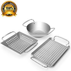 Grill Topper, Grill Accessories Set Heavy Duty Grill Basket Stainless Steel Grill Pan for Vegeta ...