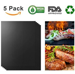 Teletrogy Grill Mat, Set of 5 Non-stick BBQ Grill & Baking Mats Reusable and Easy to Clean C ...