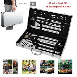 Portable BBQ Tools Set Kits 19 Piece Include Storage Box, Grilling Accessories Brush Parts Stain ...