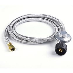 SHINESTAR 6FT Stainless Braided Propane Regulator with Hose, Low Pressure LP Hose and Regulator  ...