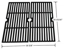Hongso PCF123 Matte Porcelain Coated Cast Iron Cooking Grid Grates Replacement for Select Gas Gr ...