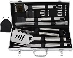 Grilljoy 20pcs BBQ Grill Tools Set, Stainless Steel Accessories in Aluminum Storage Case, Comple ...