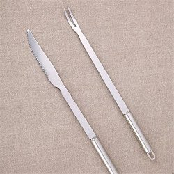 ZHU YU CHUN Grill Tool Set – 12″ Heavy Duty Stainless Steel BBQ Long Handle Knife an ...
