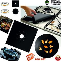 Gas stove burner covers,And FREE BBQ Grill Mat – Stove top burner liner,Gas Range Protecto ...
