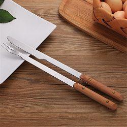ZHU YU CHUN Grill Tool Set – 12″ Heavy Duty Stainless Steel BBQ Long Handle Knife an ...