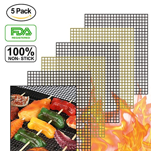 accmor BBQ Grill Mesh Mat Set of 5, Non-Stick Teflon Cooking Grilling Sheet Liner Fish Vegetable ...