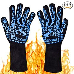 Beckool Heat Resistant Oven Gloves, BBQ Accessories with 932℉ Heat Resistance for Cooking, Grill ...