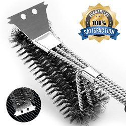 IKEITTIOTA BBQ Grill Brush with Scraper, Premium Stainless Steel Grill Cleaner without Bristle R ...