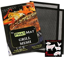 PhatMat Non Stick Grill Mesh Mats (2 pk) – Heavy Duty BBQ Grilling & Baking Accessorie ...