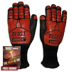 Grill Beast BBQ Grilling Cooking Gloves – Heat Resistant Kevlar & Silicone Insulated P ...