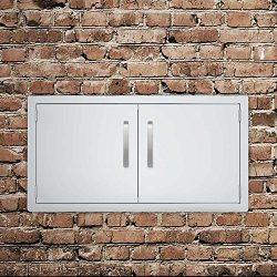 Seeutek BBQ Access Door 36W x 21H Inch Stainless Steel Double Wall Construction Vertical Door fo ...