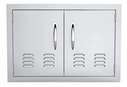 Wilk 30 Inch Double Door Flush Mount with Vents 304 Stainless Steel BBQ Access Door for BBQ Isla ...
