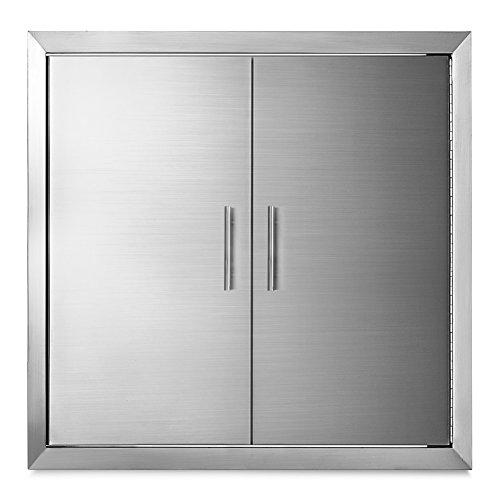 Happybuy 31 Inch BBQ Access Door Stainless Steel BBQ Island Double Door with Paper Towel Holder  ...