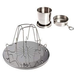 Camping Stove Toast Rack,75ml Stainless Steel Telescopic Cup, for Breakfast Toast Sandwich for O ...