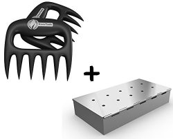 Meat Claws + Smoker Box for BBQ Grill Wood Chips – 25% THICKER STAINLESS STEEL WON'T ...
