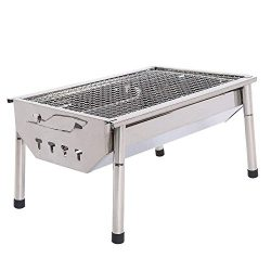 ISUMER Portable Thickened Stainless Steel Outdoor Charcoal BBQ Grill, Tabletop Cooking Charcoal  ...