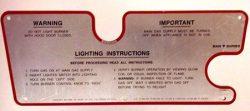 Ducane # 20181601 Lighting Instruction Plate for 1 Burner Grills