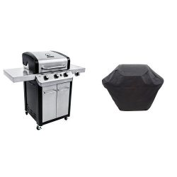 Char-Broil Signature 425 3-Burner Cabinet Gas Grill with 3-4 Burner Large Rip-Stop Grill Cover