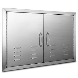 OrangeA BBQ Island Door 36 x 21 Beveled Frame Vented Double Access Door Stainless Stainless Stee ...