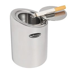 Car Ashtray, Newness Stainless Steel Modern Car Ashtray with Lid, Cigarette Ashtray for Car, Aut ...