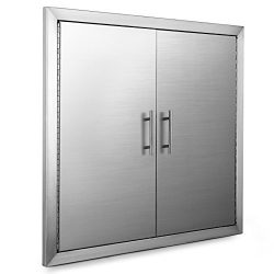 OrangeA 31 Inch BBQ Access Door Stainless Steel BBQ Island Double Door with Paper Towel Holder f ...