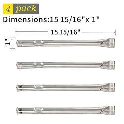 SHINESTAR Grill Burner Replacement for Charbroil, Kenmore, 4-Pack Straight Stainless Steel BBQ B ...