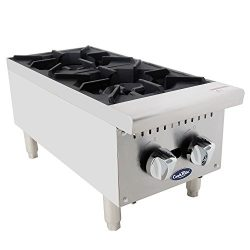 CookRite Two Burner Hot Plate Commercial Countertop Natural Gas Range ATHP-12-2 HD 12″-500 ...