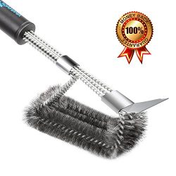 APANAGE Gas Grill Brush With Scraper, 3 in 1 BBQ Grill Brush Stainless Steel, Bristle Free&Rust ...