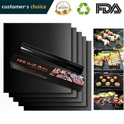 Urbanviva Grill Mat Set of 2, Black Non-Stick BBQ, Heavy Duty, Reusable, and Easy to Clean &#821 ...