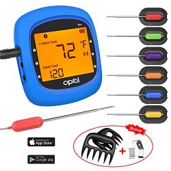 Bluetooth Meat Thermometer, Wireless Bluetooth Digital BBQ for Grilling Thermometer Smart with 6 ...