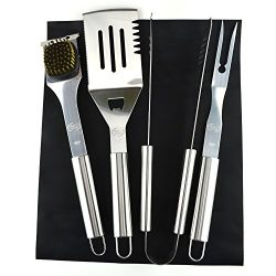 ValdoHome New Stainless Steel BBQ Grill Tools Set – 5 Piece Grilling Tool Accessories Barb ...