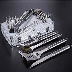 Pinty 20 in 1 Stainless Steel BBQ Grill Tools Set Barbecue Grilling Utensils Kit with Aluminium  ...