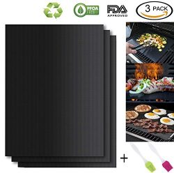 HASME Grill Mat – Set of 3 100% Non Stick Heavy Duty BBQ Grill Mat – Easy to Clean a ...