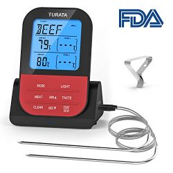 Meat Thermometer Turata Wireless Remote Digital Food Meat Thermometer with Dual Probe for Kitche ...
