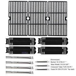 Uniflasy Gas Grill Replacement Parts Repair Kit (Burner, Heat Shield Plate, Cooking Grate, Cross ...