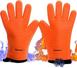No.1 Set Of Silicone Smoker Oven Gloves – Extreme Heat Resistant Washable Mitts for Safe C ...