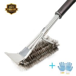 "Grill Brush and Scraper, ZOUTOG 3 in 1 Stainless Steel 18"" Bristles Cleaning Brush with BB ..."
