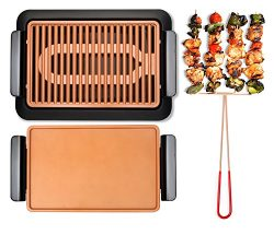 GOTHAM STEEL Smokeless Electric Grill, Griddle, and Pitchfork, Indoor BBQ and Nonstick As Seen O ...
