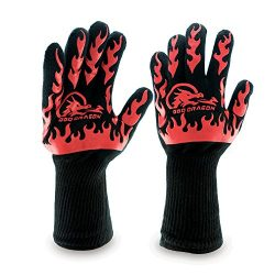 BBQ Dragon Gloves – Extreme Heat Resistant up to 932 Degrees for Oven Mitts, Charcoal Gril ...