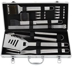 Grilljoy 19pcs BBQ Grill Tools Set, Stainless Steel BBQ Accessories in Aluminum Storage Case, Co ...