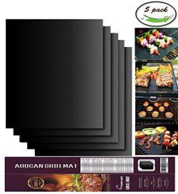 Aoocan Grill Mat Set of 5-100% Non-stick BBQ Grill & Baking Mats – FDA-Approved, PFOA  ...